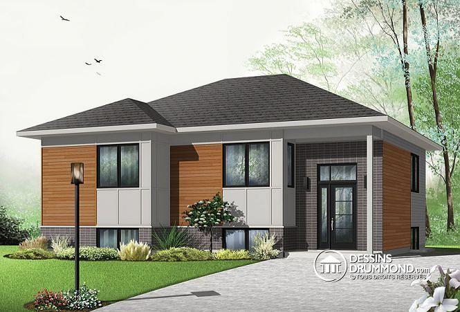 W3323 v2 bungalow split level contemporain sous sol for Modern zen house design with roof deck