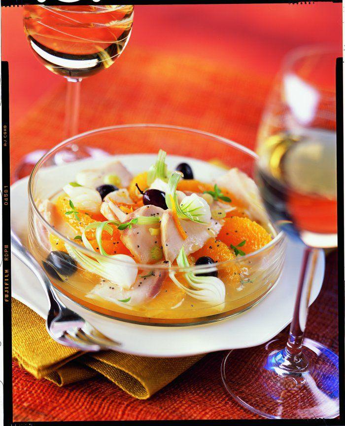 Salade+d'orange+au+mérou+grillé+et+aux+olives