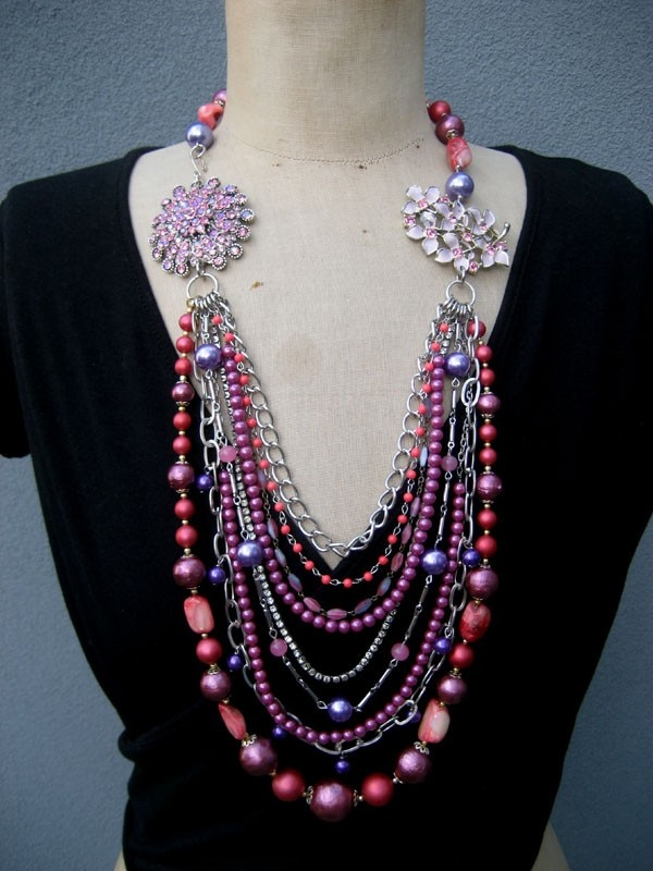 SALE, Vintage Necklace, Asymmetrical Necklace,  Flower Necklace, Statement Necklace. $149.00, via Etsy.