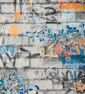 Papel pintado para chicos con graffitis urbanos y muro de ladrillo - 1116618