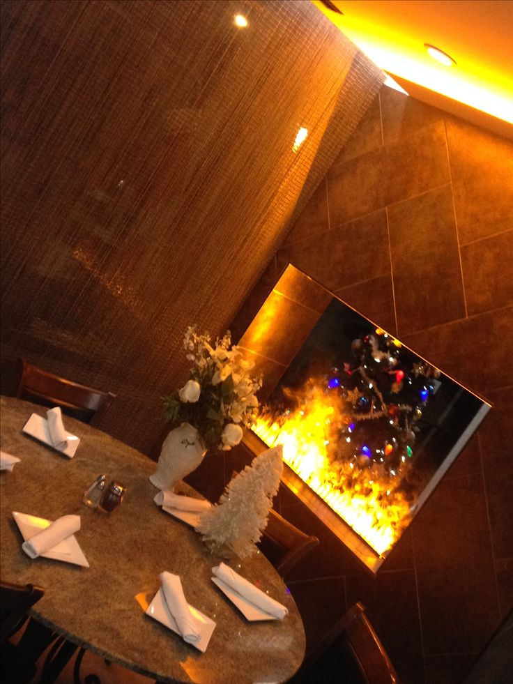 Fireplace Dc Part - 21: Optimyst Fireplace, Hearing Bone Ceramic Tile Design And Metal Beaded  Curtain. Amoou0027s Restaurant-