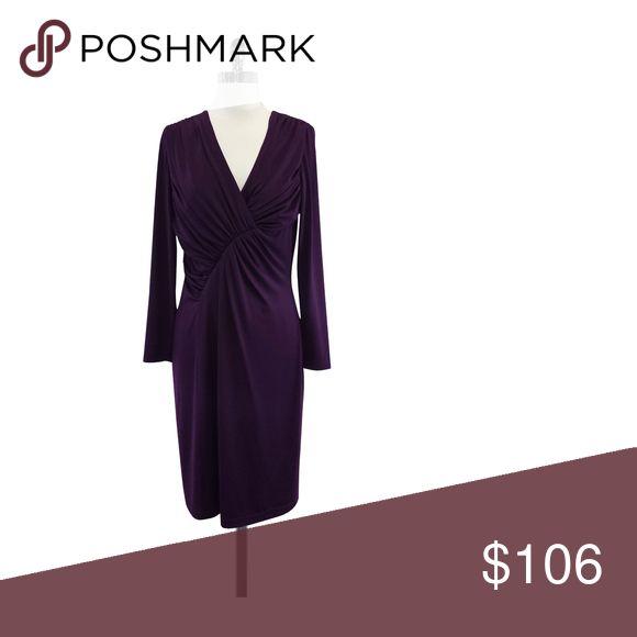 "David Meister- Purple Long Sleeve Dress Sz 8 Size 8 Purple Long Sleeve Dress Concealed back zip Plunge neckline Gathered bust Shoulder to Hem 38.75"" David Meister Dresses Long Sleeve"
