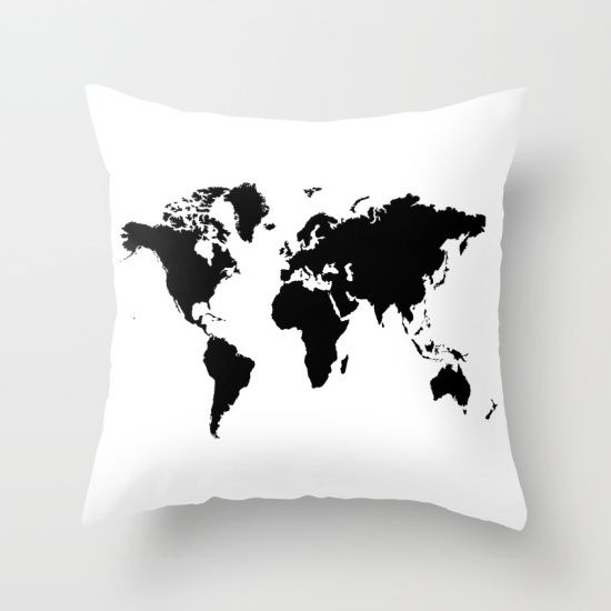 Buy Black and White world map Throw Pillow by haroulita. Worldwide shipping available at Society6.com. Just one of millions of high quality products available.