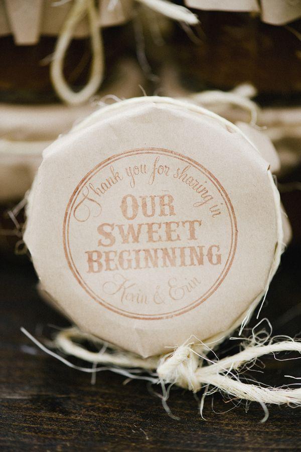 Wedding favor jam topper - stamped paper
