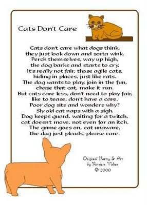 Cats don't care | Poem | Pinterest | Cats, Click! and Rhyming poems