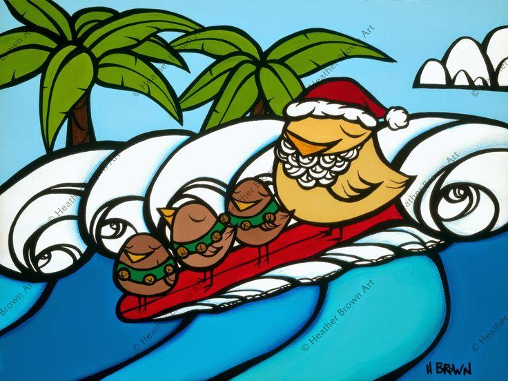 """Christmas Surf"" Surf Art by Heather Brown www.HeatherBrownArt.com"