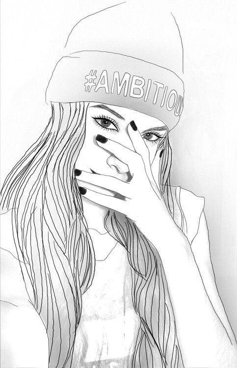 Dessins De Fille Tumblr Girl Grunge Hipster Not Mine Outline
