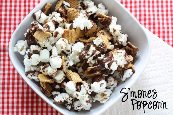 S'mores popcorn. Try toasting grahams, marshmallows and popcorn before drizzling with chocolate. Use 9oz of chocolate instead of 12.