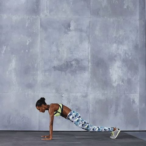 4. Burpee Roll-Ups: Start in plank position, keeping core tight throughout the move. Jump up to stand, throwing your arms up towards the ceiling, keeping your feet together. Bend your knees and crouch down, lowering your arms until your hands are directly under your shoulders on the floor. Roll onto your back, keeping your body curled into a ball, with your knees bent and arms out in front of you. Roll back up to stand, then jump straight into the air, then land softly.  x10