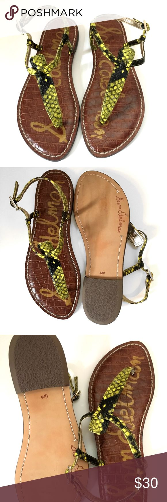 Sam Edelman 'Gigi' Sandal Python print 'Gigi' Sam Edelman Sandal in neon yellow and black Never been worn! Classic thong sandal I have owned so many of these sandals over the years. They last forever, are SO comfortable and go with everything!  OFFERS ARE WELCOME! Sam Edelman Shoes Sandals
