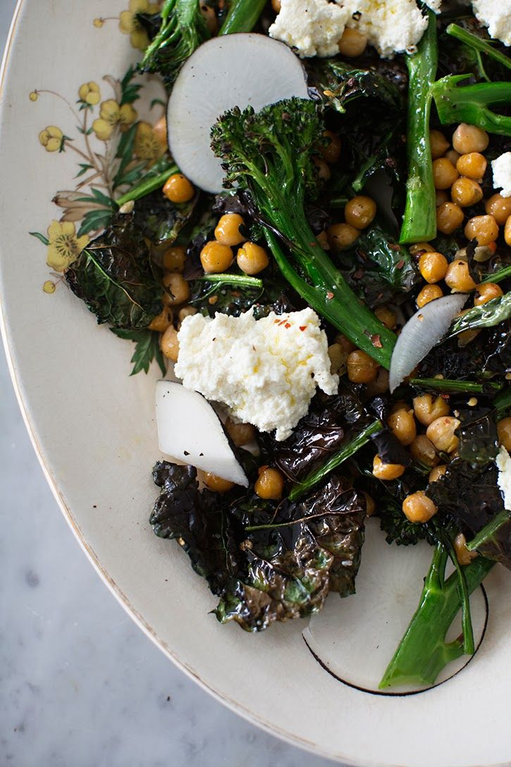 // roasted kale, broccolini and chickpea salad with ricotta.