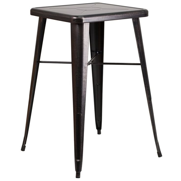 iHome Brimmes Square 23.75'' Black-Antique Gold Metal Bar Height Table for Indoor/Outdoor/Patio/Bar/Restaurant, Black, Patio Furniture