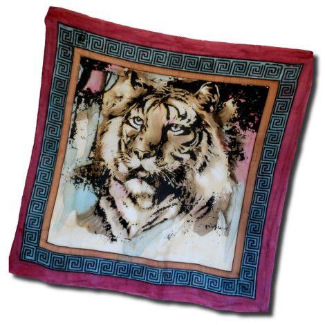 Ručne maľovaná hodvábna šatka PURPLE TIGER, ktorej motívom je kráľ všetkých zvierat. Táto nádherná hodvábna šatka predstavuje ušľachtilosť  a vznešenosť.  http://bit.ly/1tdNqsB