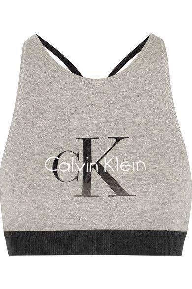 Calvin Klein Underwear - Retro Stretch-cotton Soft-cup Bra - Stone - medium