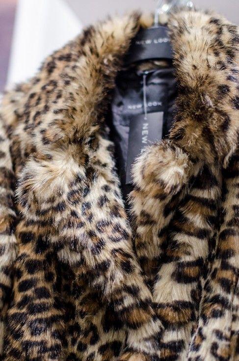 Haina din blană ecologică cu imprimeu leopard
