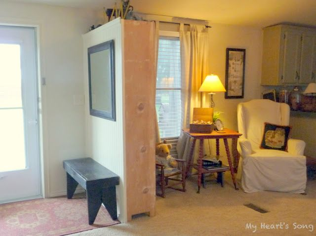 Single wide, Book case/ entry way! My kitchen is opposite of theirs but I think this could still work