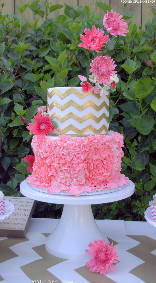 Pink and Gold Chevron Wedding Cake / RooneyGirl BakeShop / via StyleUnveiled.com
