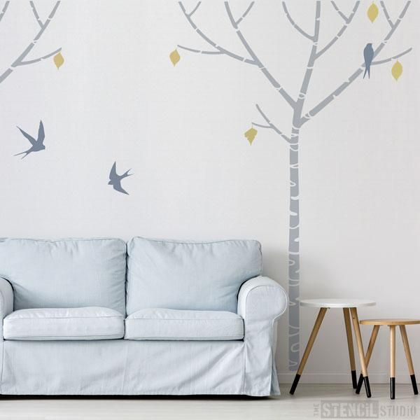 Birch Tree wall stencil, extra large stencils are better than wall stickers! – The Stencil Studio