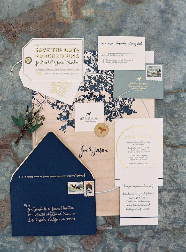 Navy Gold wedding invitation idea; photo: Jose Villa