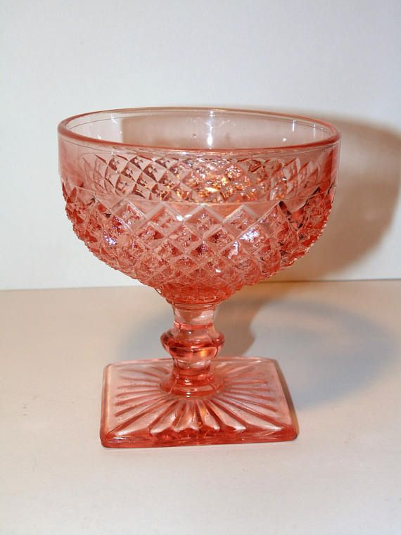 Pink Depression Sherbet Cup Anchor Hocking Glass Miss America