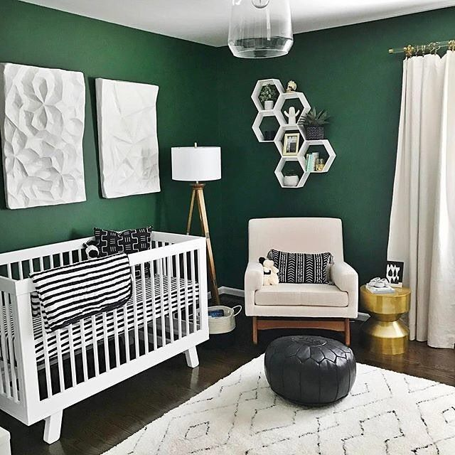 Can T Get Enough Of These Emerald Green Walls Paired With Bright Mod Pieces The Clean Lines Hudson Crib Make For Nu Black And White Nursery