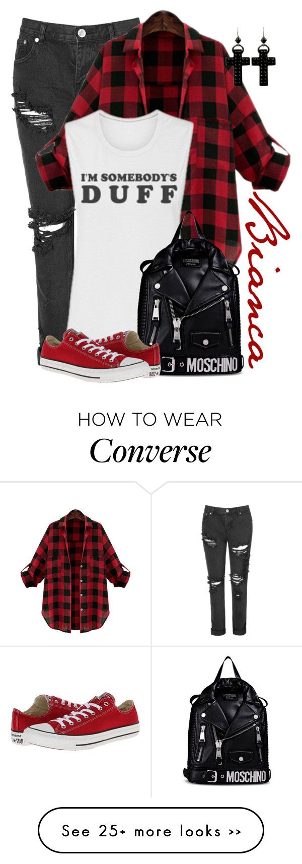 """Bianca"" by alyssa-eatinger on Polyvore featuring Glamorous, Moschino, Converse and Tarina Tarantino"