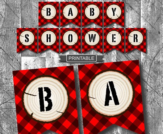 Diy Red Buffalo Plaid Lumberjack Baby Shower Decorations Banner Printable Baby Shower