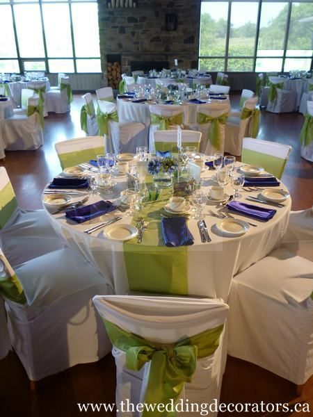 Wedding Decorating, turquoise runners and bows. royal blue ...