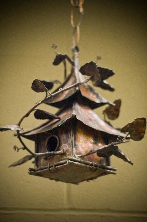 Copper Hanging China Bird House от mikelange3 на Etsy