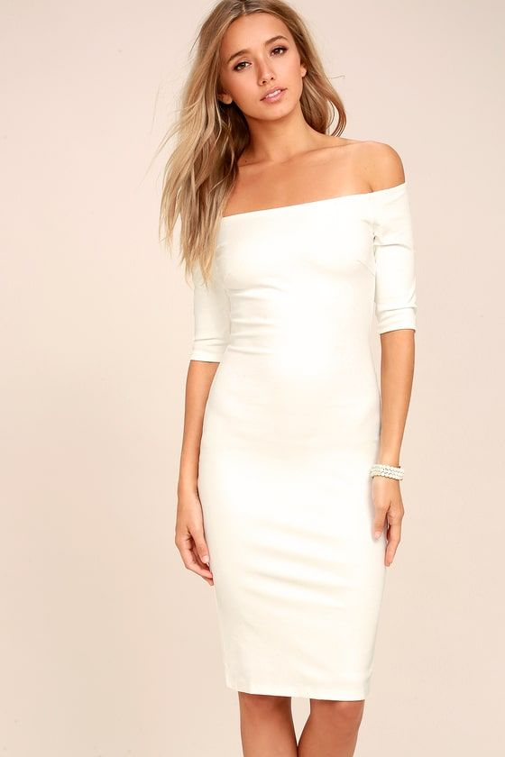 3e64dbdc726 If being chic comes naturally, then that must be why you love the Girl  Can't Help It Ivory Off-the-Shoulder Midi Dress!