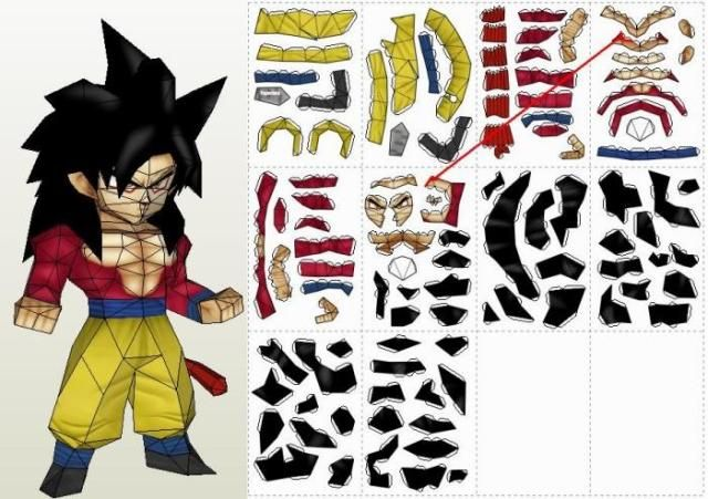 Dragon Ball Z  Goku SSJ1 Paper Model  by Paper Juke More one