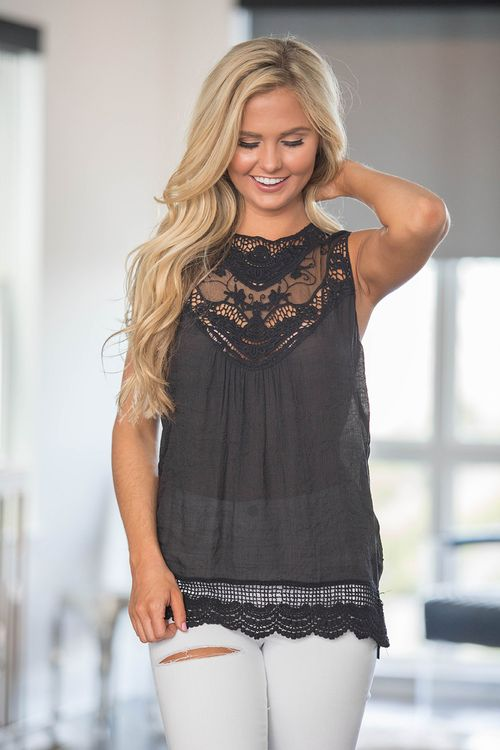 Beautiful Lace Tank Black - The Pink Lily