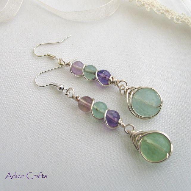 Fluorite Gemstone Earrings-colors