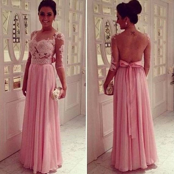 Long lace prom dresses with sleeves