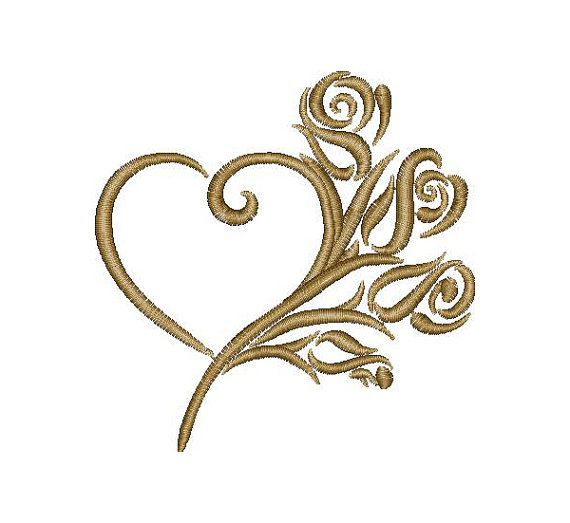 Hearts, Love, Valentine, Roses - Machine Embroidery Design - Instant Download