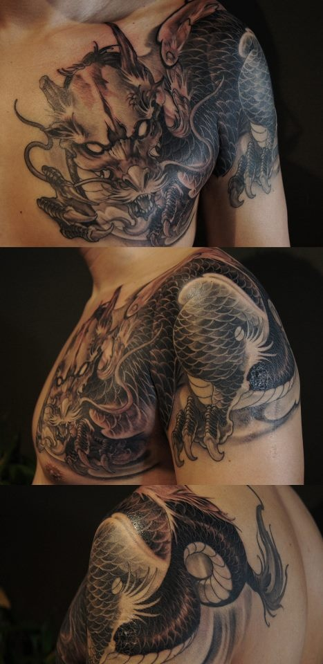 Chronic ink Tattoos, Toronto Tattoo - Finished dragon by Tristen.