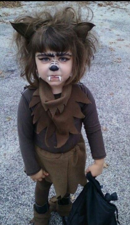 A Very Cute Homemade Werewolf Costume For Girls.