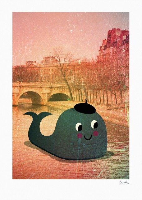 """Kinderposter """"Whale in Paris"""", 50 x 70 cm, Ingela P. Arrhenius für OMM Design"""