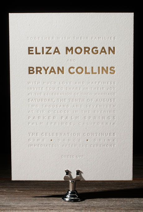 A gold matte and pearl shine foil stamped wedding invitation by @letterpressed | Brides.com