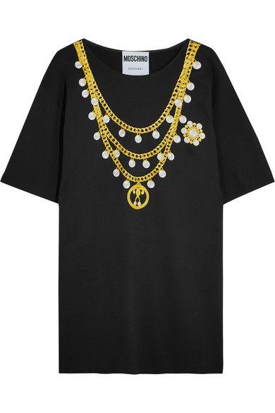 Moschino - Oversized Printed Cotton-blend Jersey T-shirt Dress - Black - IT