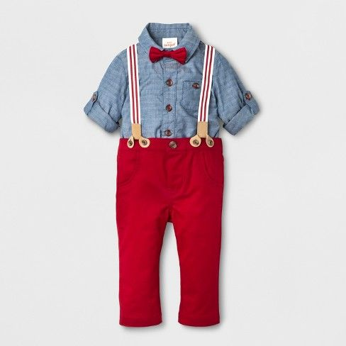 Everyone will be saying how adorable your baby boy is when he wears this 2-Piece Jacquard Shirt, Bow Tie and Pants with Suspenders Set from Cat & Jack™ during the holiday season. The included dress shirt bodysuit has snaps at the crotch that makes getting ready and changing diapers a breeze. It also has a chest pocket accent and long sleeves that can be rolled up for a more comfy fit. This set also comes with a pair of pull-on pants with suspenders attached for a dash of cute, fu...