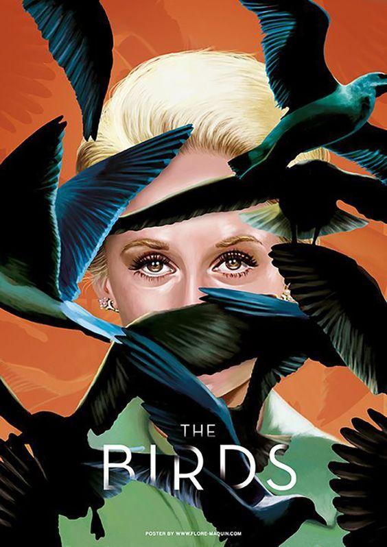 Pôster do filme Os Pássaros. 10 filmes de terror. Imperdível.
