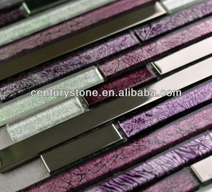 Decorative Stainless Steel And Glass Mosaic Tile Purple Mix