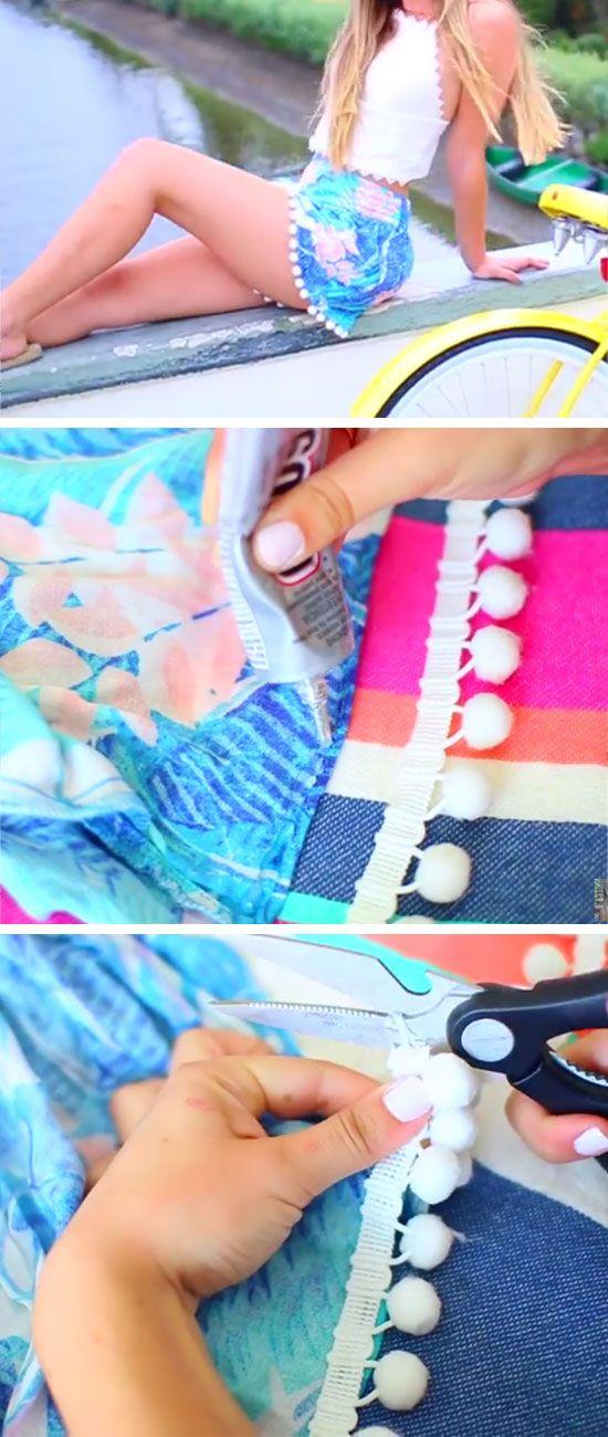 DIY Pom Pom Shorts | 15 DIY Summer Clothes for Teens Tumblr | Easy Summer Fashion Ideas for Women to Make