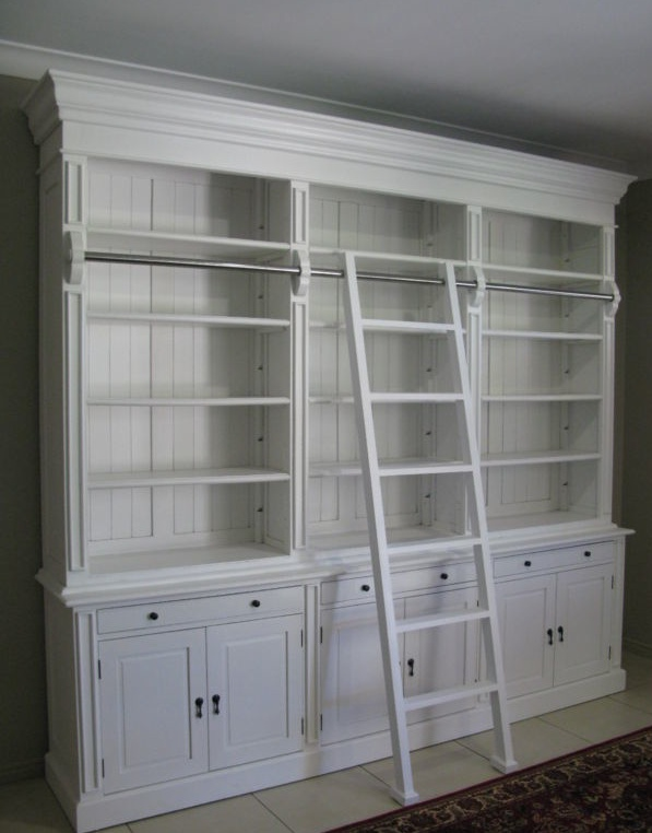 Love this white Library Cabinet with Ladder  Library  Home Office  Study  Library cabinet