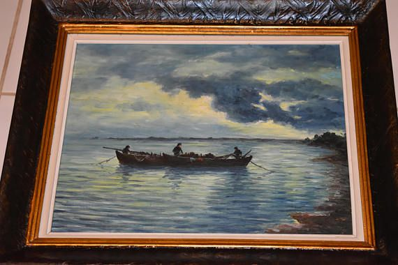 beautiful vintage oil painting  seascape with fishermen
