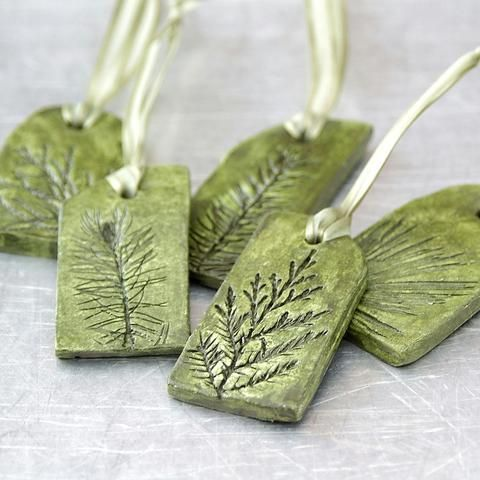 Clay Sculpture Ornament With Natural Plant Impression Christmas Holiday Decoration Green Small - Available In Other Colors