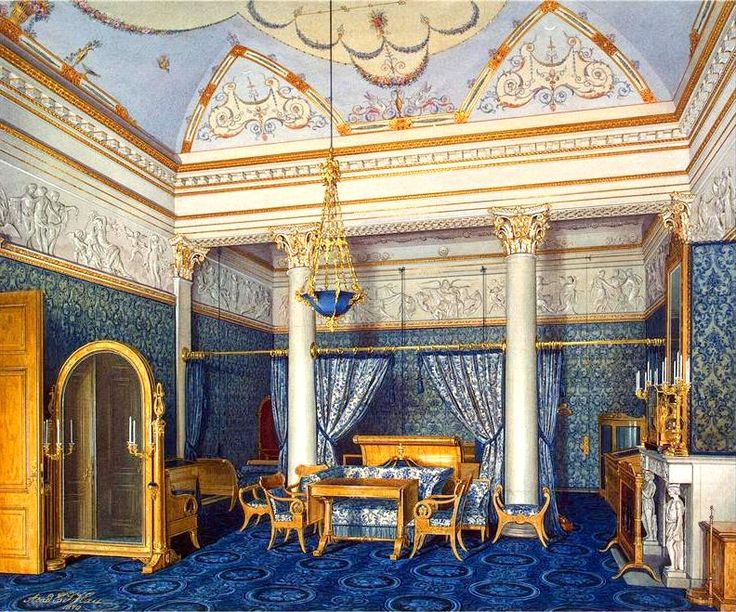 """Love the relaxing intimacy of the curtained off bed alcove. """"Interiors of the Winter Palace. The Bedchamber of Empress Alexandra Fyodorovna""""."""