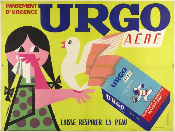A sweet dove bandages a young girl's cut in this brightly colored poster by Aminac. Artist: Aminac Date: c. 1960 Country: France
