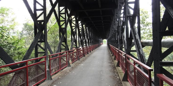 Old railroad bridge converted to a cycle path